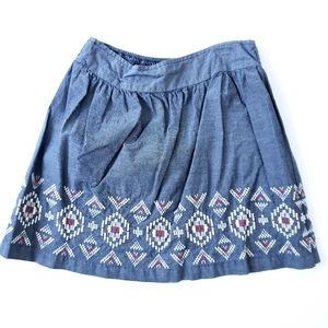 American Eagle Denim A-Line Skirt Embroidered Smal